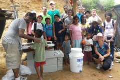 visitors with stove, leanto and water purifier for family